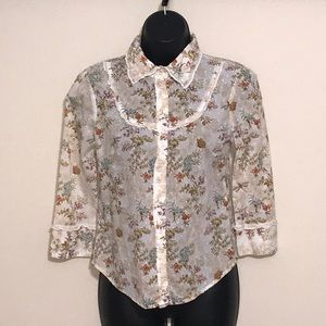 Odille Toile Floral Blouse Size 4–B5